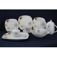 Buy cheap 47pcs Cut Decal Print Porcelain Dinnerware Set,Comes in White, Microwave, Dishwasher safe from wholesalers