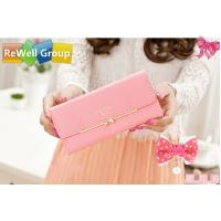 Buy cheap Lovely Pink Soft Surface PU Long Leather Wallets For Women , Students from wholesalers