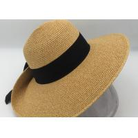 Buy cheap Women Sun Beach Hats,Wide Brim Straw Hat,Unique Windproof Strap Design,Fashionable Big Bowknot from wholesalers