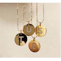 Buy cheap Fashion Style 18K Gold Jewelry Beaded Chain Necklace With Letter Diamond Pendant from wholesalers