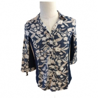 Buy cheap Ladies Yarn Dyed 71% Viscose 28% Cotton V Neck Shirt from wholesalers