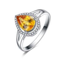Buy cheap Big Yellow Sapphire And Diamond Wedding / Engagement Ring For Ladies from wholesalers