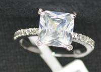 Buy cheap Handmade Luxury Wedding Rings With 7mm Square Cubic Zirconia from wholesalers