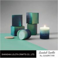 Buy cheap Gradient Color Soy Wax Handmade Jar Candles Aurora Sky Green Bottle Non Toxic product