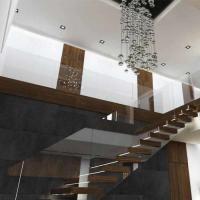 Buy cheap Prefab house Modern straight staircase with hardwood floor metal railing solid wood stairs for homes from wholesalers