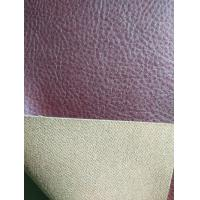 Quality Red Brown Faux Leather Fabric For Clothing , Faux Leather Material for sale