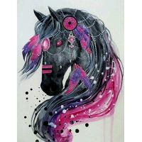 Buy cheap Animal Handcrafts Art Gifts Diy 5d Diamond Embroidery Rhinestone Pasted Painting black horse Bedroom Decoration from wholesalers