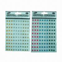 Buy cheap Acrylic/Crystal Stickers with Fashionable Design, Available in Various Sizes and product