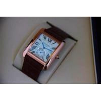 Buy cheap Cartier Tank Series Men's Mechanical Watches Second Subdial @6 Leather Strap from wholesalers