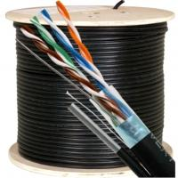 Buy cheap Messenger UTP Outdoor CAT5E Cable 24 AWG 4 Pairs Bare Copper UV-PE Jacket from wholesalers
