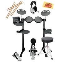 Quality Yamaha DTX450K Electronic Drum Set Bundle with Drum Throne, Drum Sticks, Headphones, and Polishing Cloth for sale