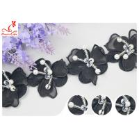 Buy cheap Black 3D Flower Embroidered Lace Trim With Beaded Azo Free Dyeing Pass OEKO TEX product