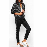 Buy cheap Hot sale sportswear low price stylish smooth 100%polyester print design slim fit women tracksuit set from wholesalers