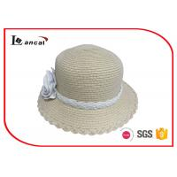 Buy cheap Girls Natural Straw Wide Brim Sun Hat With Crossed Brim And White Flower Band from wholesalers