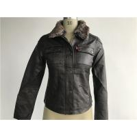Buy cheap Levis dark brown ladies' pleather zip through jacket with detachable fake fur collar LEDO1743 from wholesalers