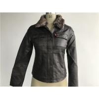 Buy cheap Levis dark brown ladies' pleather zip through jacket with detachable fake fur collar LEDO1743 product