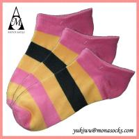 Buy cheap Pink Yellow and Black Striped Low Cut Cotton Ankle Socks from wholesalers