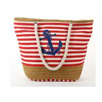 Buy cheap Navy Style Straw Weave Non Woven Polyester Bags With Rope Handles Zipper Closure from wholesalers