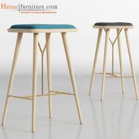 Buy cheap Square Counter Height Stool Fabric Upholstered Bar Chair Solid Wood Legs from wholesalers