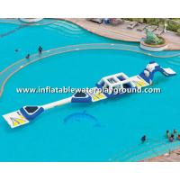 Buy cheap 16.8m Long Aquaglide Inflatable Water Parks With Runway, White & Blue Water Playground from wholesalers