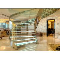 Buy cheap Laminated Glass Tread Building Curved Staircase With Stainless Steel Post Railing from wholesalers
