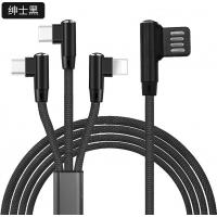 China 3 IN 1 Magnetic Nylon Braided USB Data Transfer Cable For Games Mobiles Pads And Tablets on sale