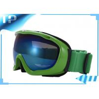 Buy cheap Winter Sports Skiing Glasses Womens Ski Goggles Blue Lens with Green Frame And Strap from wholesalers