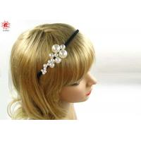 Buy cheap Custom Ladies Metal Black Bow Hair Band Jewelry With Pearls Embellished from wholesalers