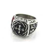 Buy cheap Unique Engraved Stainless Steel Masonic Rings With Magic Cross In Craved Lines from wholesalers