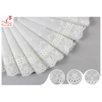 Buy cheap White Cotton Lace Fabric / Eyelet Lace Trim Ribbon With Floral Lace Scalloped Edge DTM Color Dyeing product