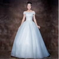 Buy cheap Elegant 3D Slim Appliques Sweetheart Lace Wedding Dress with Sweep train , white from wholesalers