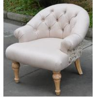 Solid Wood Children Chair French Style Upholstered Button Back Fabric Armchair