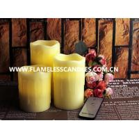 Buy cheap Beeswax Drip Flameless Pillar Candles with On / Off Button Remote Control LED Candle from wholesalers
