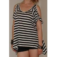 Buy cheap White And Black Stripe Short Sleeve Womens Knit Tops With Off Shoulder Design from wholesalers