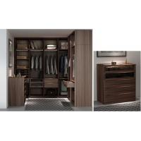 Buy cheap Custom Furniture Walnut wood Built Walk in Wardrobe Closet with Cloth display racks and Storage Cabinets from wholesalers