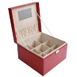 Buy cheap crocodile pattern hand-held increase grid jewelry box storage box red product