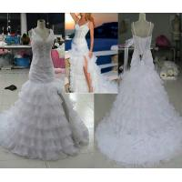 Buy cheap 2015 Newest V-Neck Layered Trained Wedding Gown Dresses from wholesalers