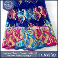 Buy cheap Multicolored african wedding lace embroidery fabric decorated with sequins from wholesalers