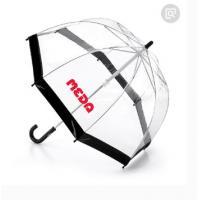 Black Edge Clear See Through Umbrella Automatic Curved Handle 80cm Dia