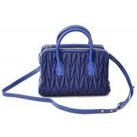 Buy cheap Custom Luxury Blue Womens Leather Bag with SheepSkin Trimming from wholesalers