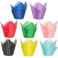 Buy cheap Greaseproof Waterproof Paper Muffin Tulip Polka Dot Cupcake Liners Colorful from wholesalers