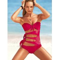 Buy cheap OEM Solid Color Fabric Breathable Plus Size Spandex / Nylon Anti-UV Tie Shorts Bikini Sets from wholesalers