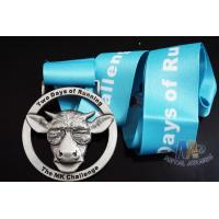 Buy cheap Deer Head Logo Metal Award Medals And Ribbons Nickel Plating 3D Mold Design from wholesalers