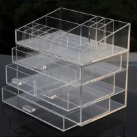 Buy cheap Clear Acrylic Makeup Organizer Drawer Type Perspex Cosmetic Storage Box Plastic Makeup Box from wholesalers