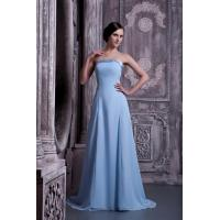 Buy cheap Blue Strapless A Line Blue Chiffon Bridesmaid Dress With Beads from wholesalers
