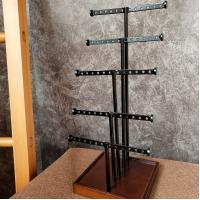 Buy cheap 5 Rods Earring Metal Table Top Display Stands With Wooden Base For Grocery from wholesalers