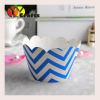 Buy cheap Paper printed colorful cupcake wrappers white and sky blue wave design from wholesalers