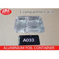 Buy cheap Food Grade Aluminium Foil Takeaway Food Containers 3 Compartments 650ml Volume A033 product