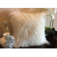 Mongolian fur Pillow Natural White Long Hair Tibetan Sheep Skin Pillow Cover 40cm