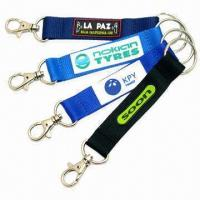 Buy cheap Promotional Short Strap Lanyard with Carabiner Hook and Metal Split Ring product